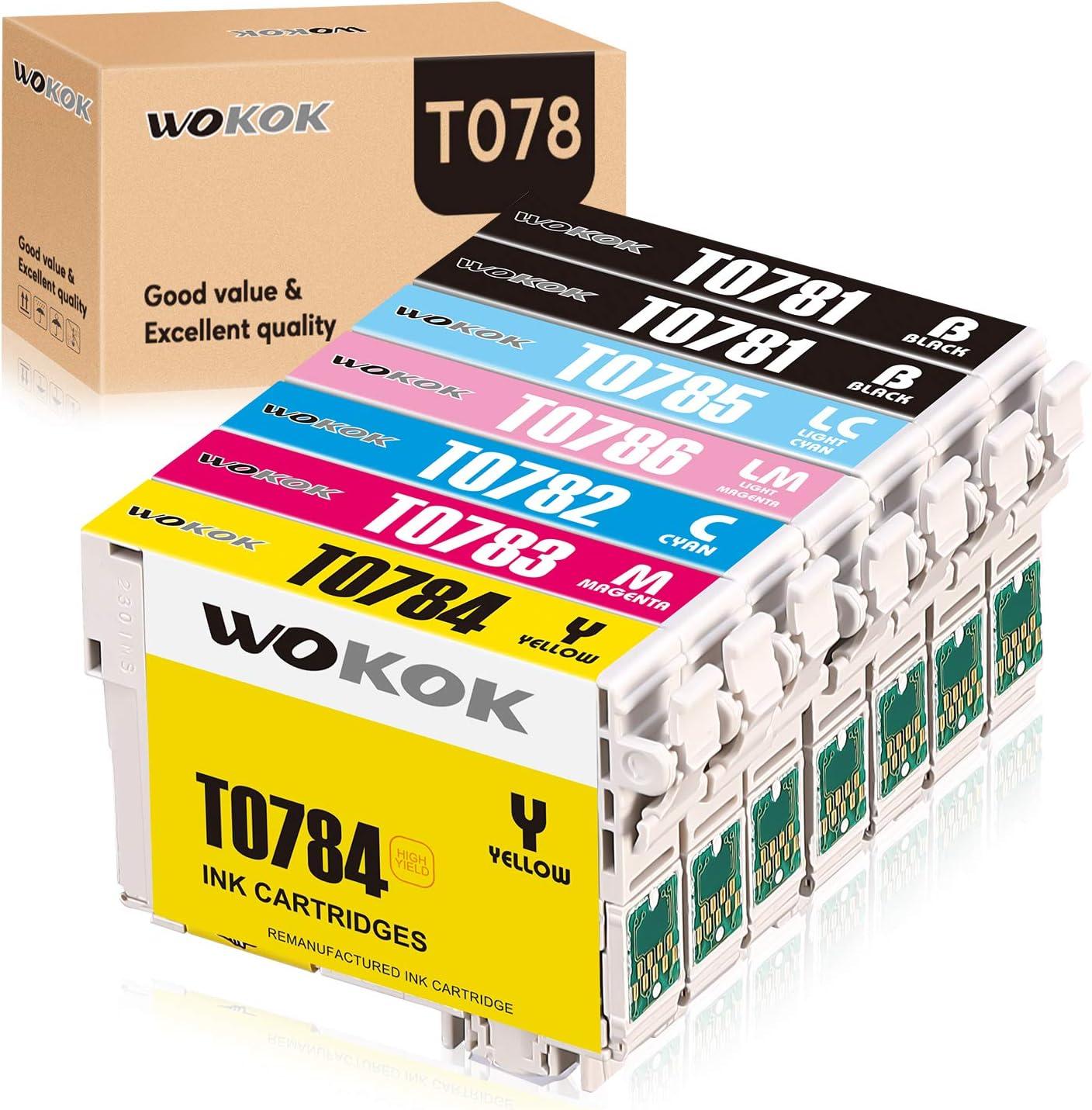 WOKOK Remanufactured Ink Cartridge Replacement for Epson 78 Ink Cartridges, T078 for Epson Artisan 50 Stylus Photo R260 R280 R380 RX580 RX595 RX680 (2BK, 1C, 1M, 1Y, 1LC, 1LM): Office Products