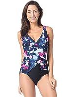 Delimira Women's One Piece Waist Minimizer V-neck Swimwear Beachwear Swimsuit