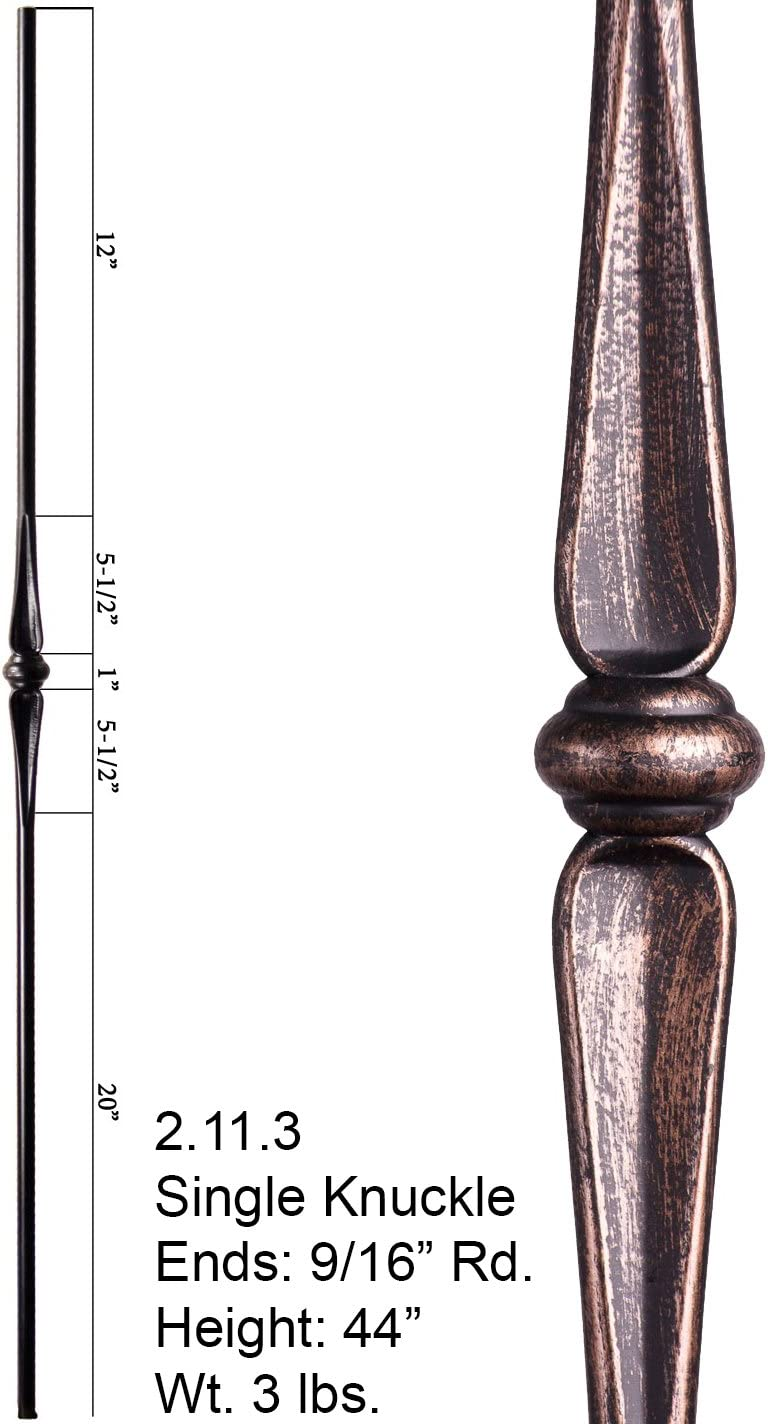 Oil Rubbed Bronze 2.11.3 Single Knuckle Round Solid Iron Baluster for Staircase Remodel