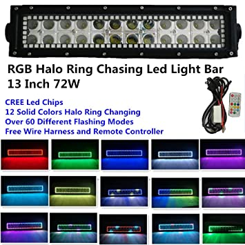 Amazon night break light 135 inch 72w cree led light bar night break light 135 inch 72w cree led light bar remote controller rgb halo ring 12 mozeypictures Image collections