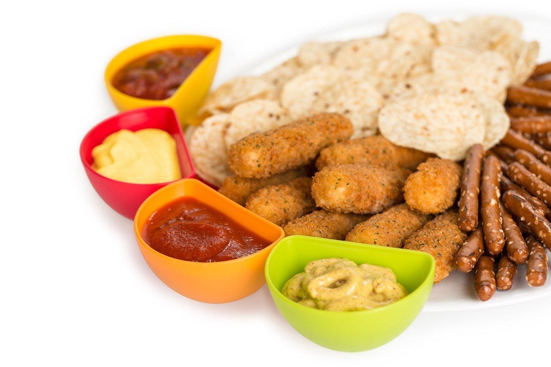 wuzmei DIP Clips cuencos para salsas Set 4 multiusos de mini cocina DIP Clips Tomates Sauce Sal Vinagre Azúcar sabor Especias, plato, cuenco Caja Tribunal 4 ...