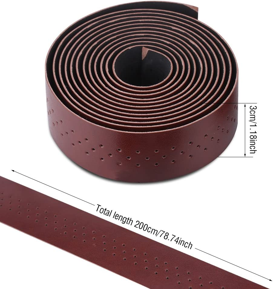 1Pair//Set Handlebar Grip Tape PU Leather MTB Bar Tape Retro Style Comfortable Cycling Handle Wraps 2Colors
