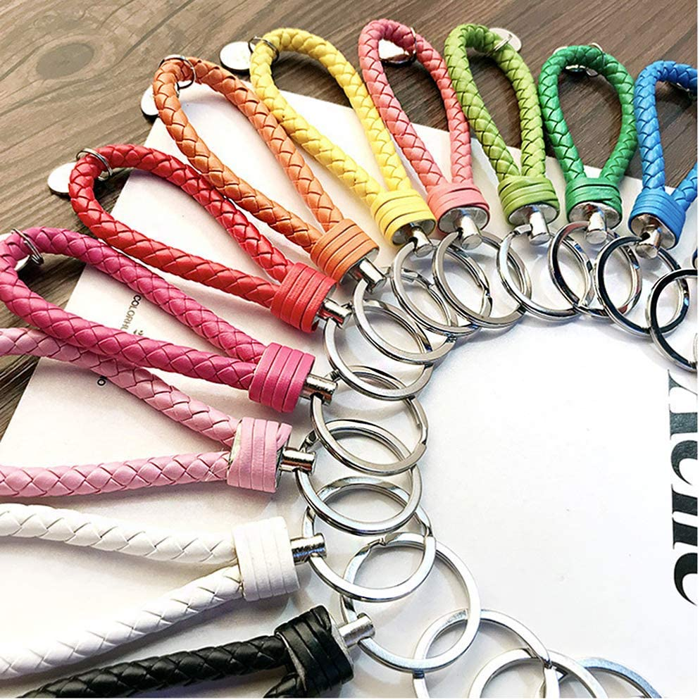 October Elf Braided PU Leather Keychain Woven Strap Key Ring Simple Car Key Chain Peach