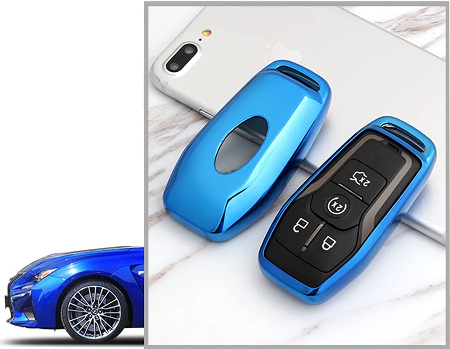 Glossy Remote Soft TPU Key Fob Cover Case Gold For Ford or Lincoln 4 5 Button Intelligent Keyless