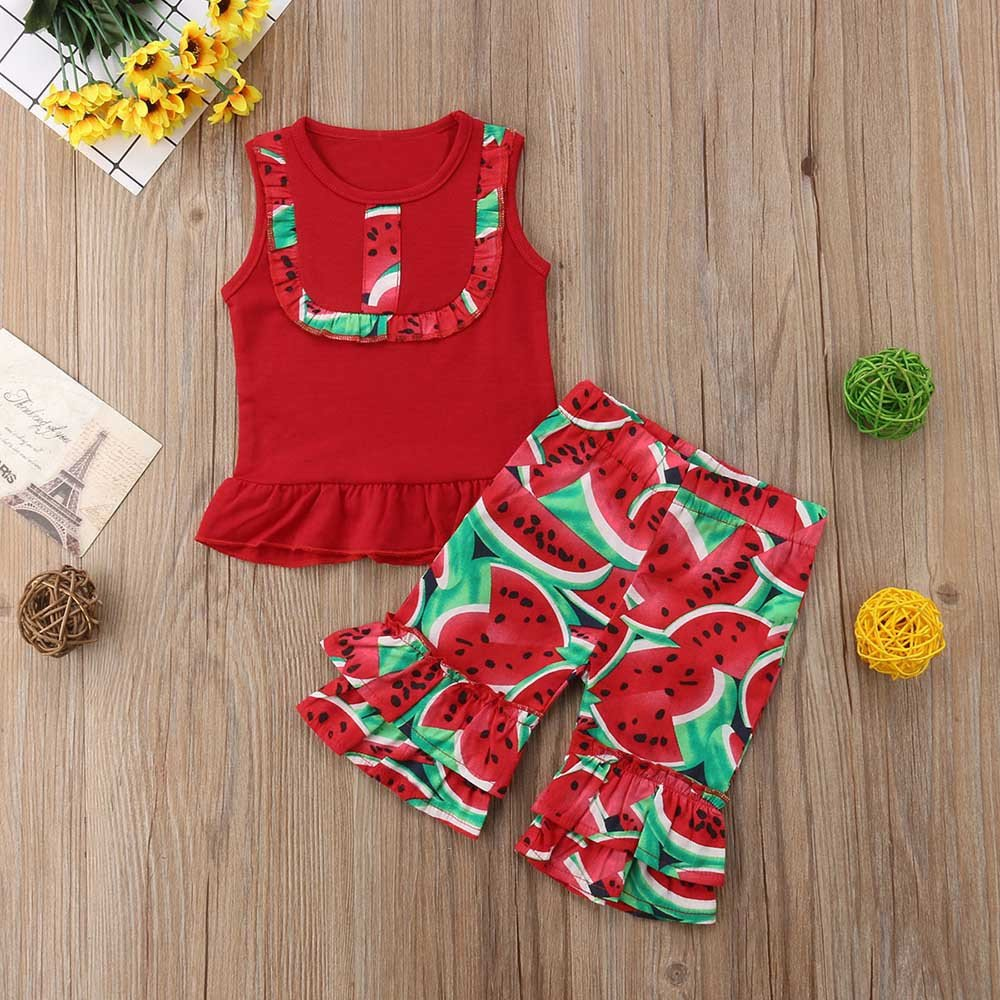 Flare Pants 2PC Kid Baby Watermelon Print up Clothes Flare Pant Set Outfit XUANOU Girls Sleeveless Watermelon Print Top