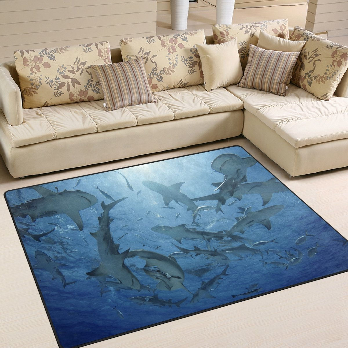 ALAZA Underwater World Funny Shark Area Rug Rugs for Living Room Bedroom 7' x 5'