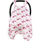Baby Car Seat Covers To Protect From Sun, Bugs, Dust & Allergens. Cozy Baby Car Seat Covers For Longer Sleep. Muslin Cotton Baby Car Seat Canopies For Summer For Girl.