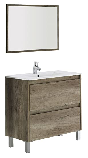 arkitmobel dakota meuble de salle de bain couleur bois 80 x 80 x 45 cm