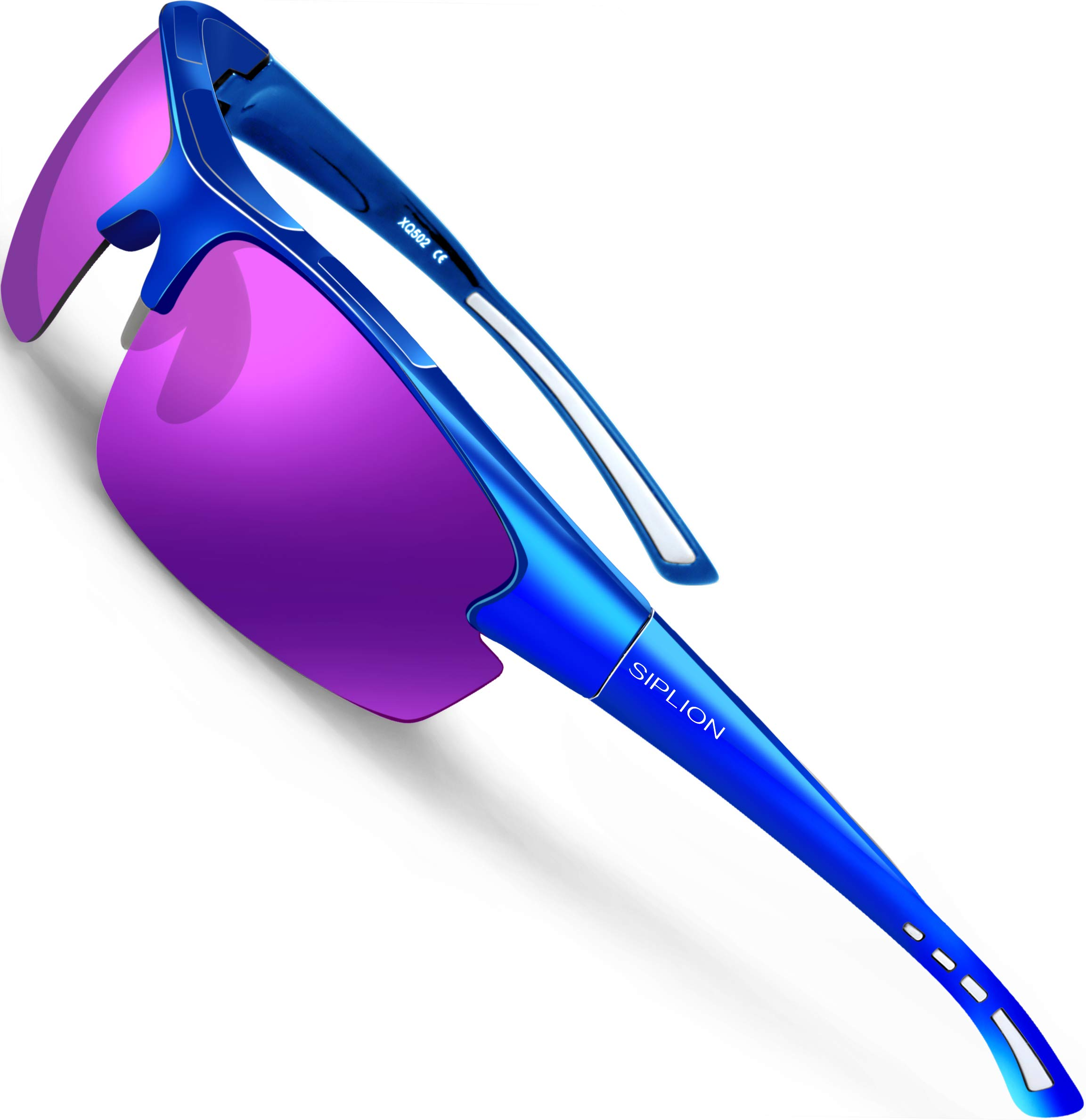 SIPLION Men's Polarized Sunglasses Sports Glasses for Cycling Fishing Golf TR90 Superlight Frame (Blue+purple, as the pictures) by SIPLION