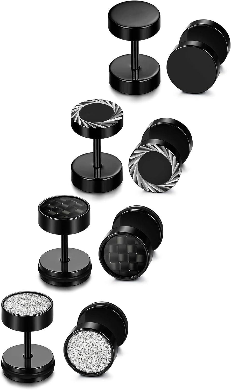 Sailimue Acier Inoxydable 4 Paires Boucle d/'oreille pour Homme Femme Unisex Noir Diam/ètre 6mm 8mm