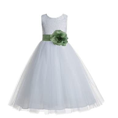 8f1dbe3fd54 ekidsbridal Floral Lace Heart Cutout White Flower Girl Dresses Clover Green Holy  Communion Dress Baptism Dresses