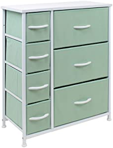 Sorbus Dresser with 7 Drawers - Furniture Storage Chest for Kid's, Teens, Bedroom, Nursery, Playroom, Clothes, Toys - Steel Frame, Wood Top, Fabric Bins (Pastel Teal)