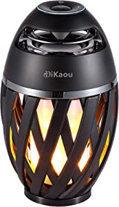 LED Flame Outdoor Table Lamp , DiKaou Torch Table Lamp with Blutooth Speaker, Rechargeable Ambience Lantern with Flickers Warm Light for Patio/ Porch/Home Decor , Best Gift for Men Women Teens Kids