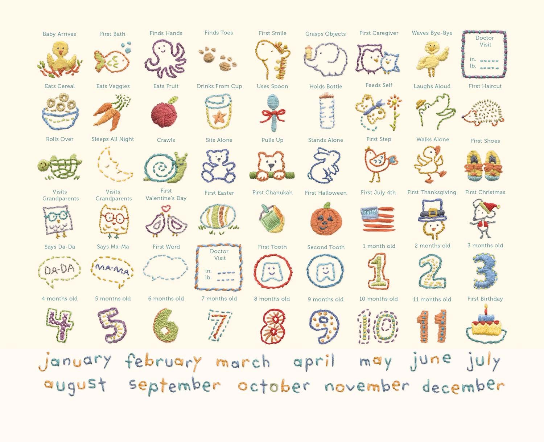 Gibson Animals Hello World Baby Calendar Baby First Year Tracker 11 W x 18 H C.R