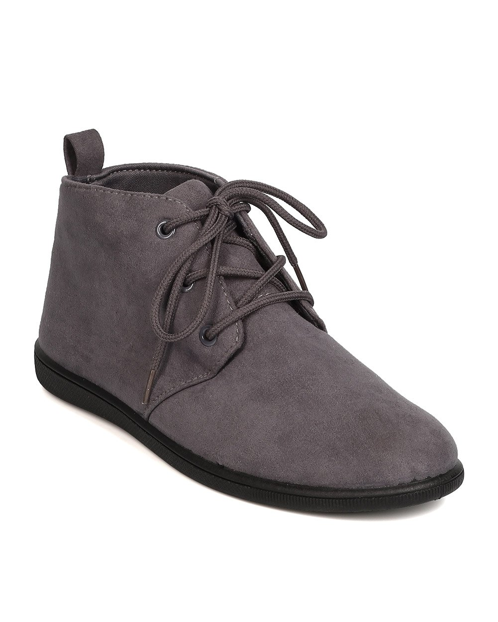 Refresh Women Faux Suede Round Toe Lace Up Desert Bootie FH51 - Grey (Size: 11)