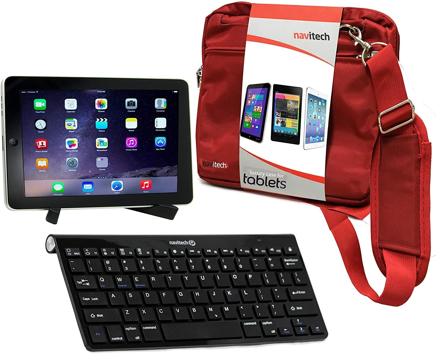 Navitech Converter Pack Including Multi OS Wireless Bluetooth Keyboard/Red Case Bag & Portable Stand Compatible with The Dell Venue 7 | Dell Venue 8 7000 | Dell Venue 11 pro 7140