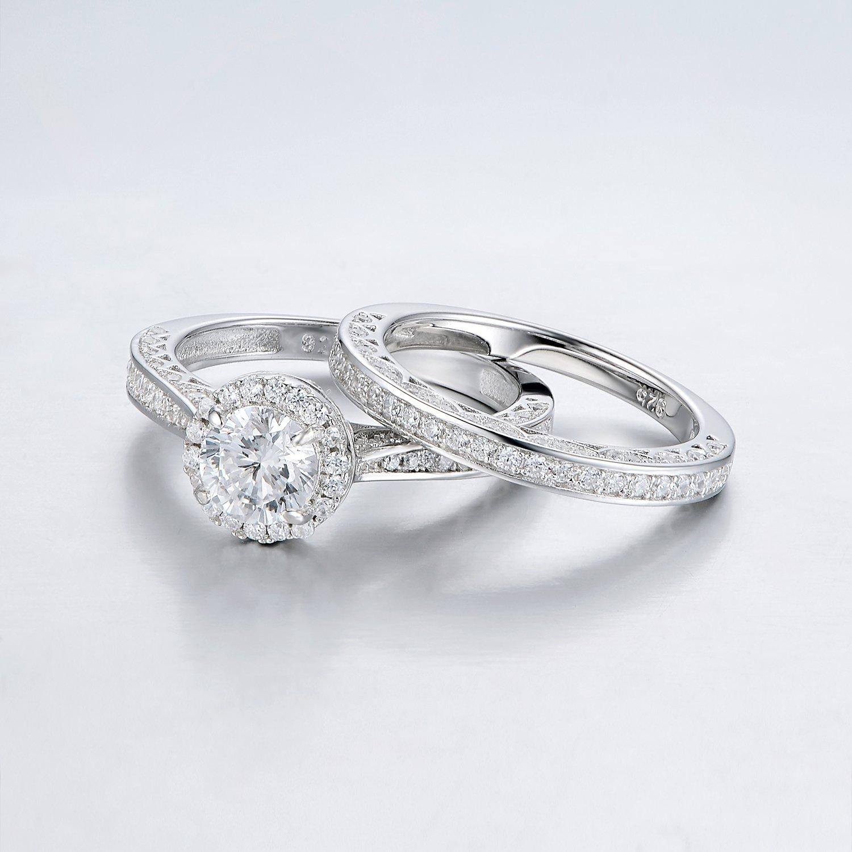 Amazon Newshe Jewellery Alice 2 4 Carat Round White CZ 925
