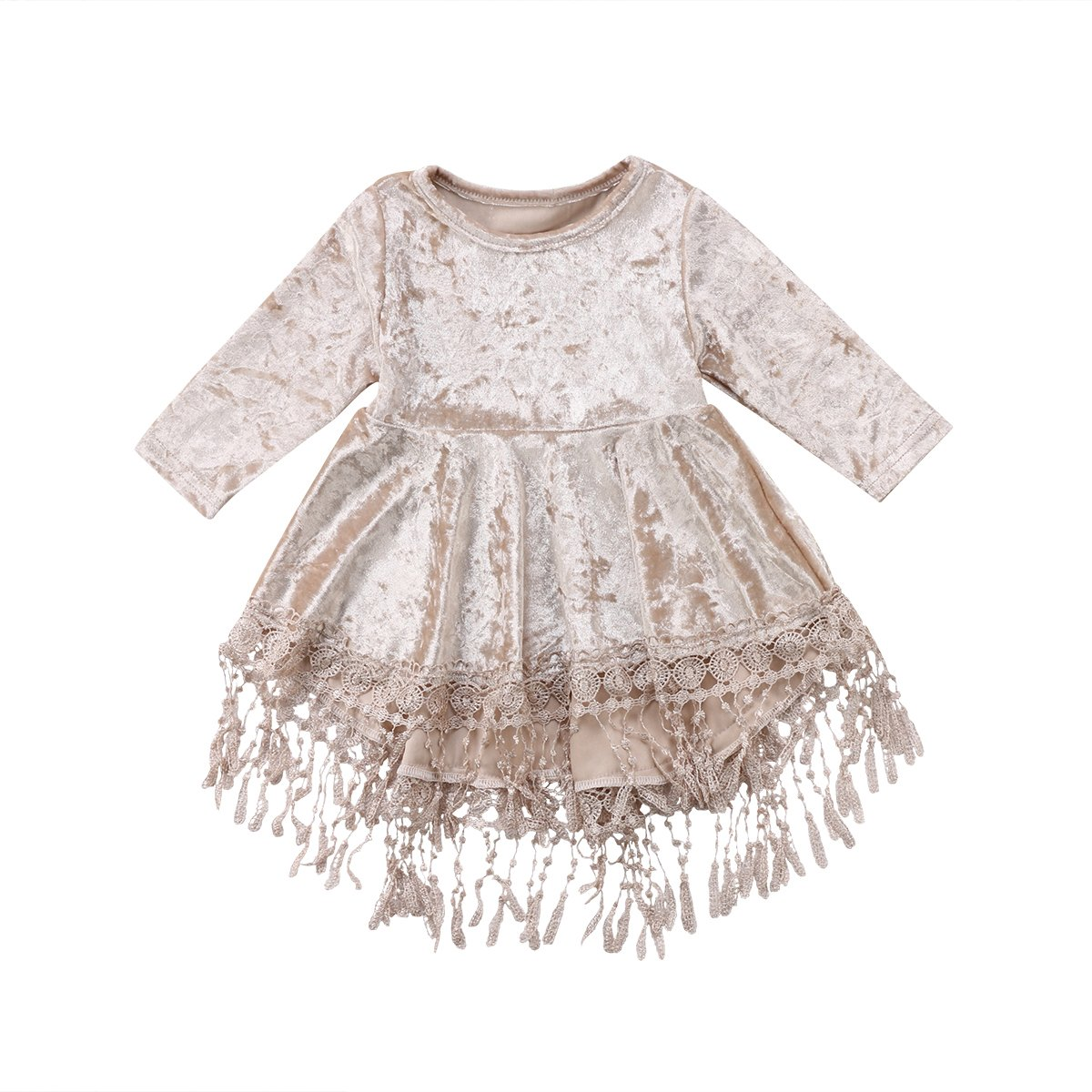 Emmababy Vintage Princess Kids Baby Flower Girls Dress Silver Velvet Tassels Party Dresses Outfit (Silver, 1-2Years) by Emmababy