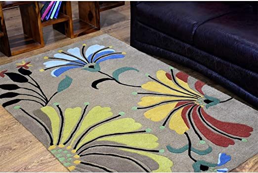 Amazon Com Rugsotic Carpets Hand Tufted Wool 4 X6 Area Rug Floral Camel K00219 Kitchen Dining