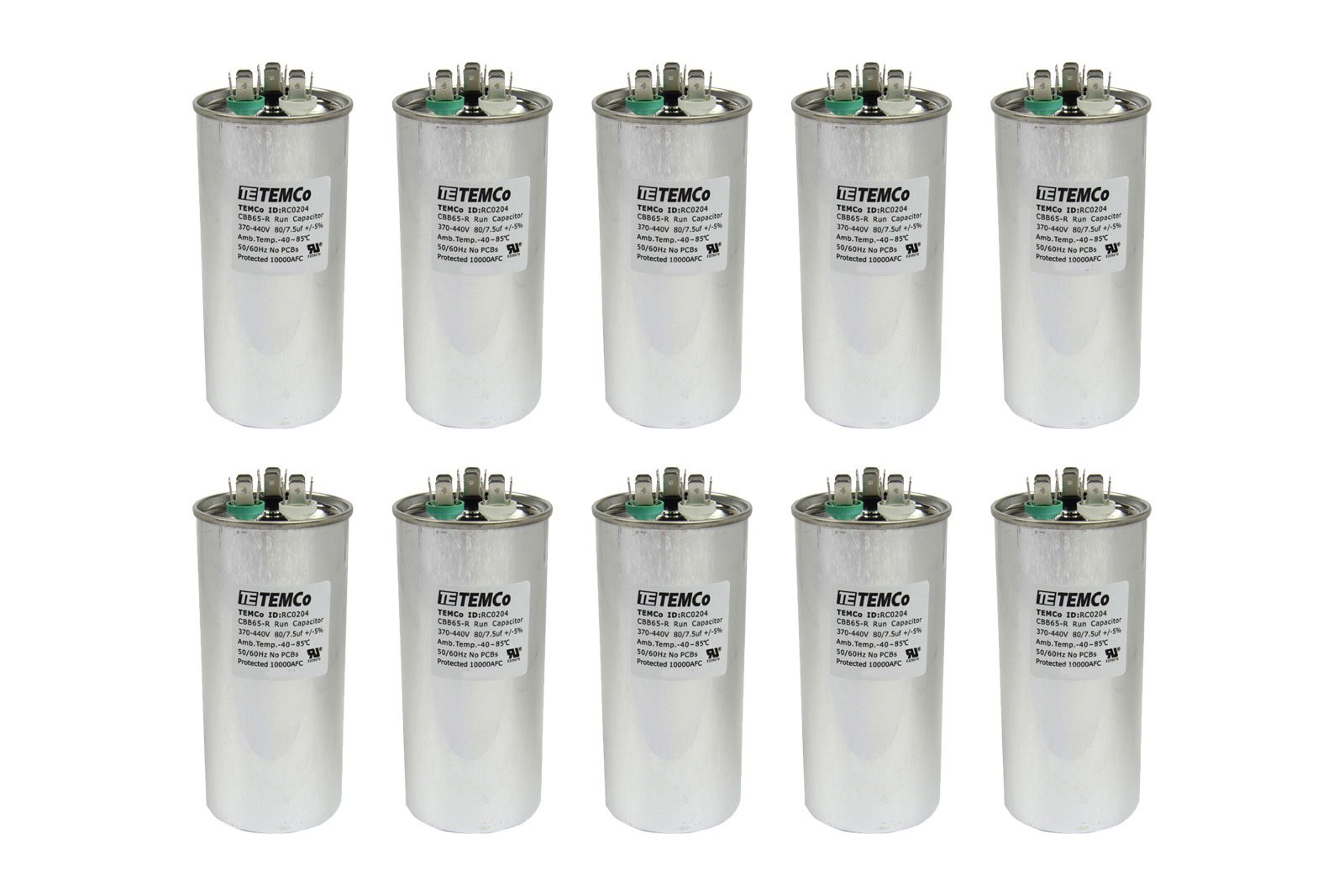 TEMCo 10 LOT Dual Run Capacitor RC0206-80/7.5 mfd 370 V 440 V VAC volt 80+7.5 uf AC Electric Motor HVAC