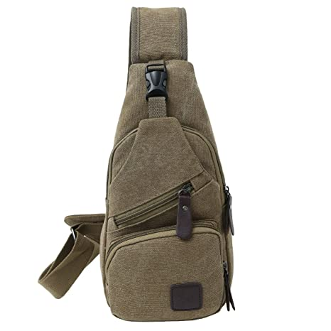 0b3bae9ddb4 Amazon.com | Canvas Chest Pack Crossbody Casual Sling Shoulder Bag(502)  (Light coffee) | Casual Daypacks
