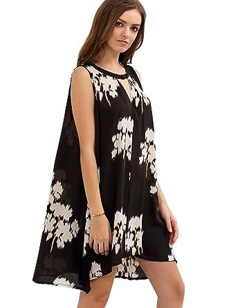 Shein abertura sin mangas floral alto bajo de la mujer Shift vestido de corto: Amazon.es: Ropa y accesorios