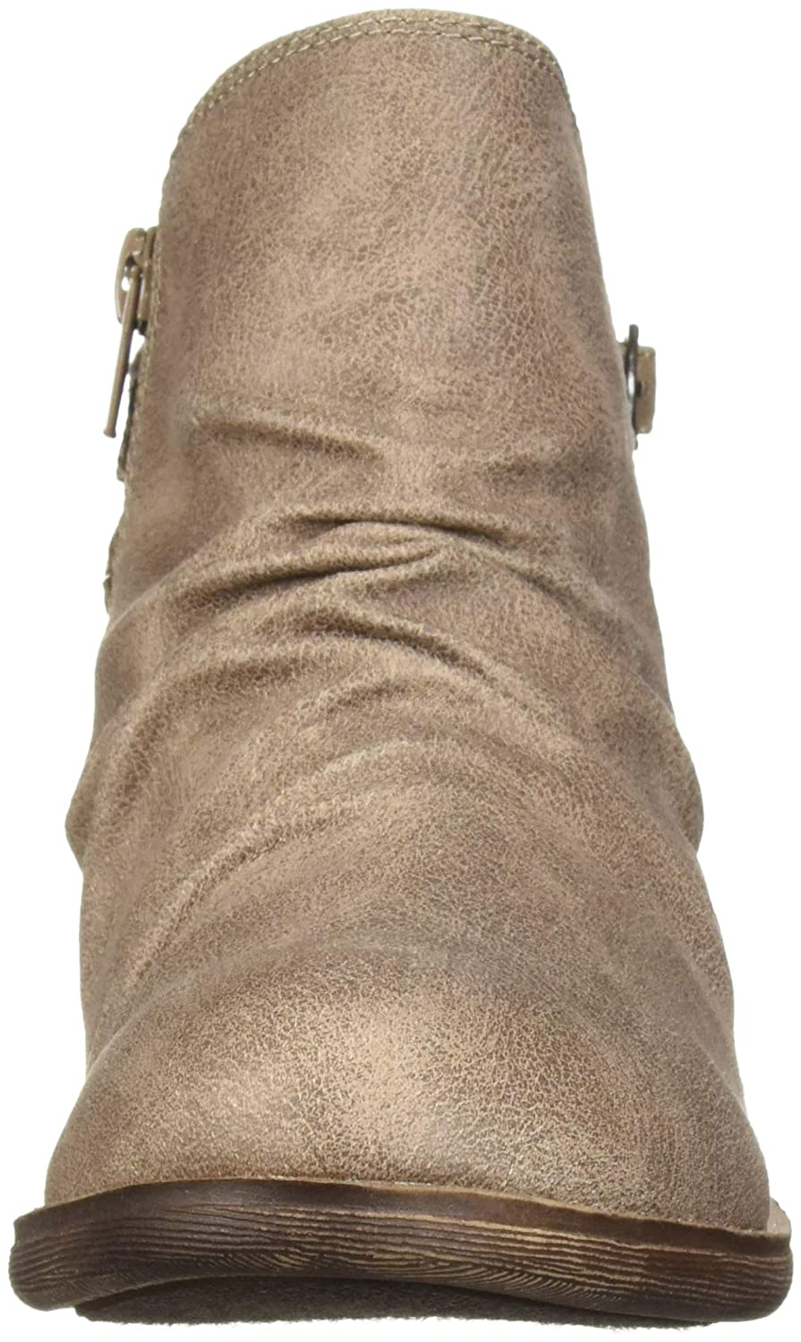 Sugar Tali Womens Casual Trendy Low Heel Scrunch Ankle Bootie with Back Strap Details Boot