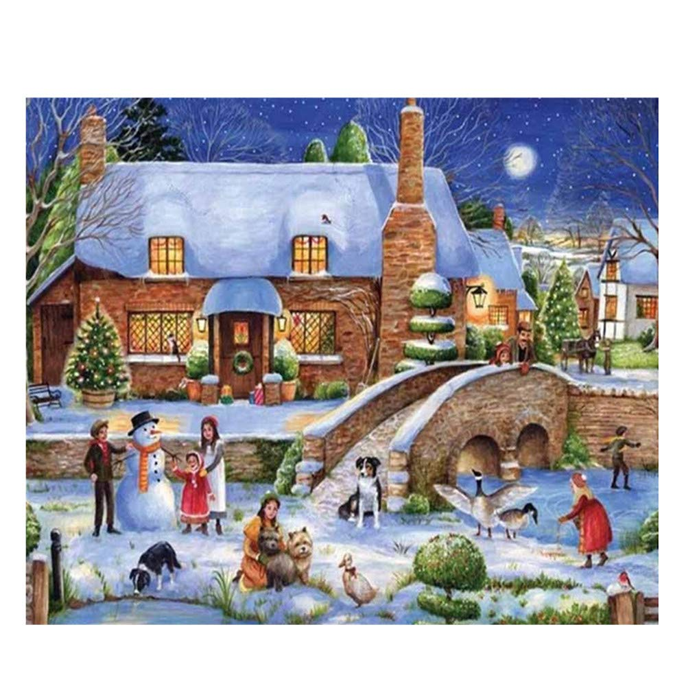 Promisen Rhinestone Painting,5D DIY Winter Outdoor Snow Scene Cross Craft Stitch Painting by Number Kits,Rhinestone Embroidery for Living Room,Bedroom,Study Room (A)