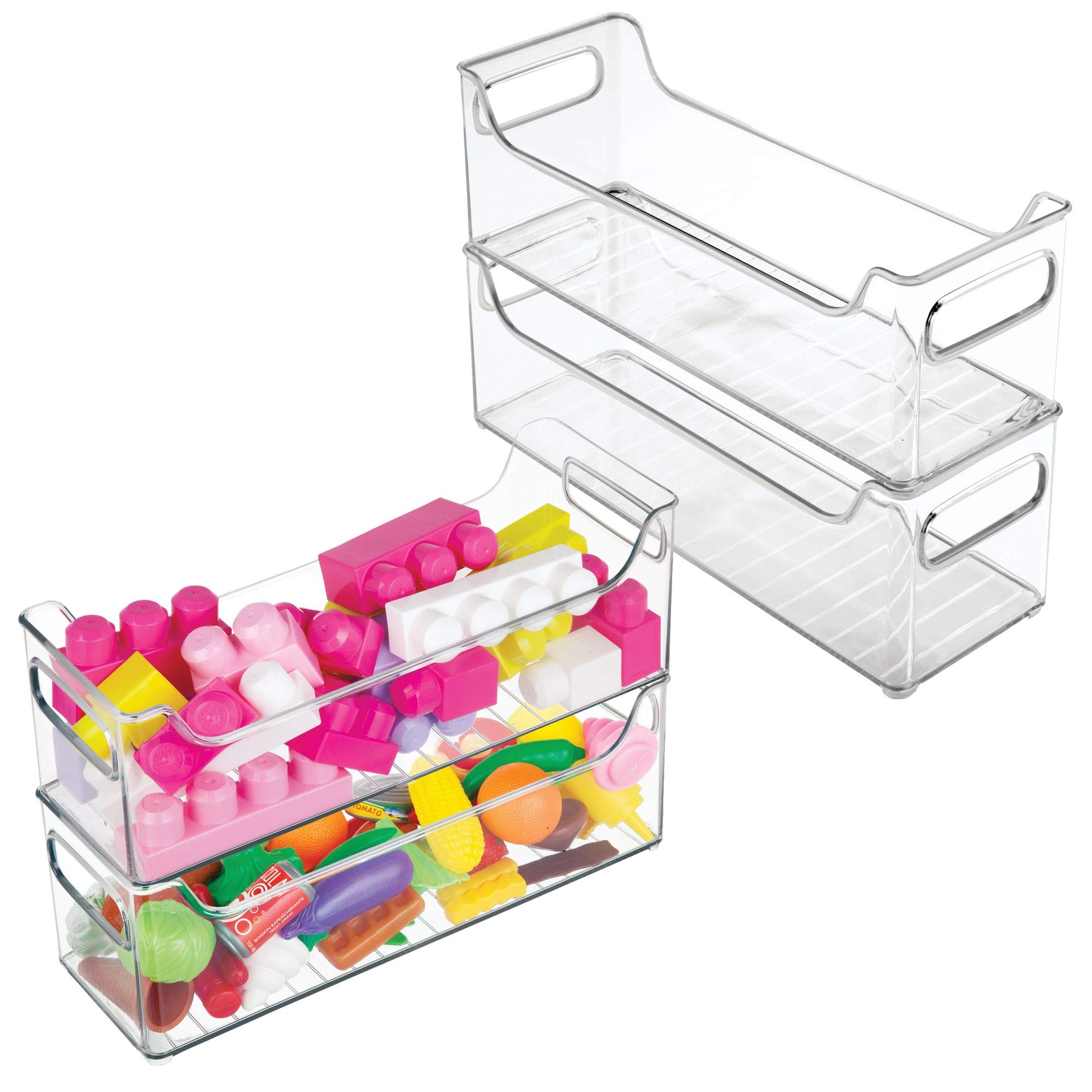 mDesign Plastic Kids Baby Cat Dog Toys Storage Organizers Bins Totes Baskets for Action Figures, Crayons, Legos Puzzles Wood Blocks Stuffed Animals - Set of 4 - 5'' x 5'' x 14.5'', Clear