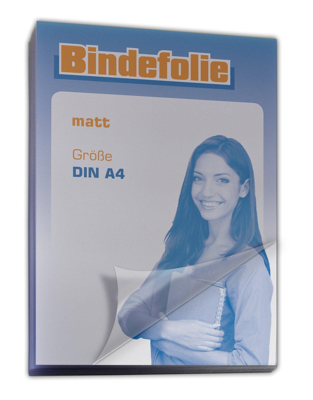 Deckfolie / Deckblatt transparent matt DIN A4 100 Stück, Umschlagmaterial für Bindungen BUYOR