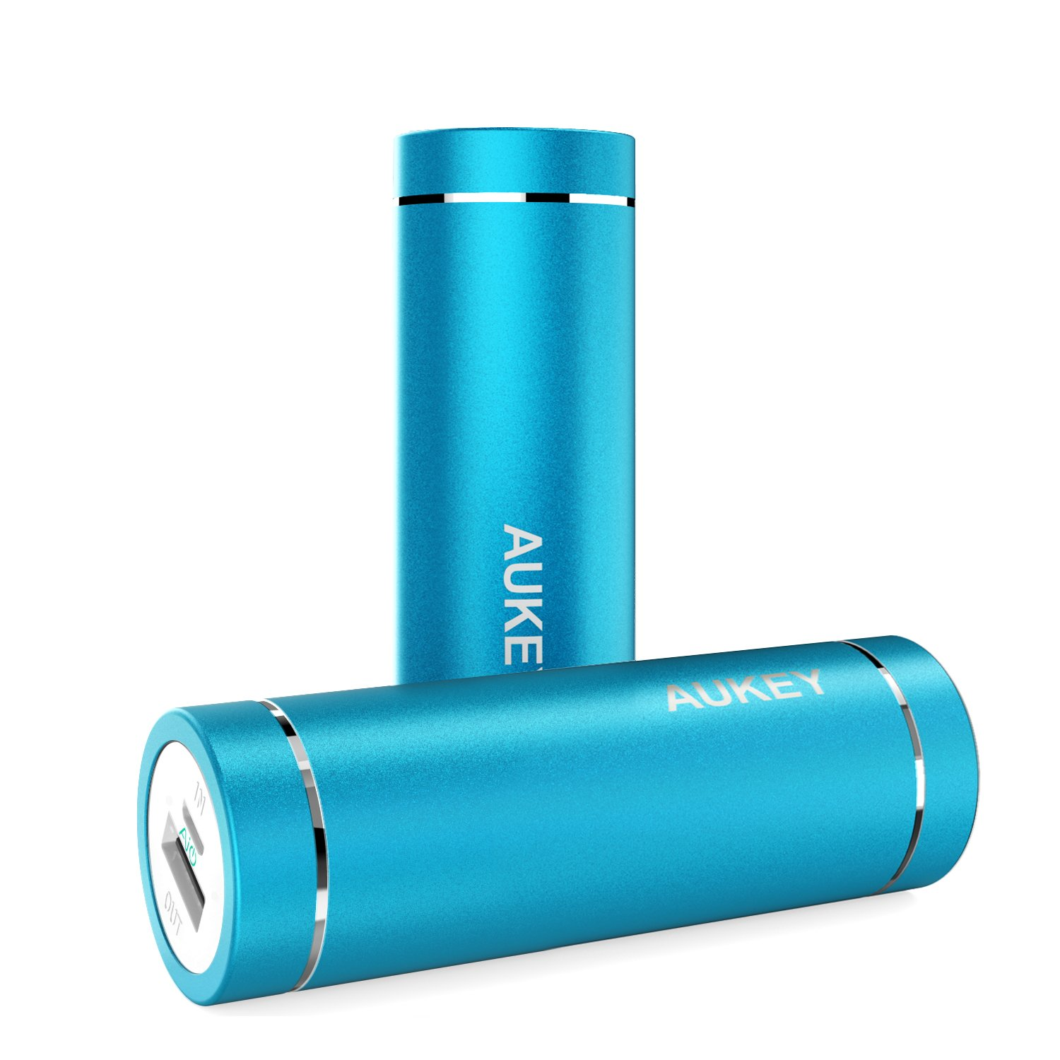 AUKEY 5000mAh Portable Charger Compact Size Power Bank with 5V//2A Output External Battery for iPhone iPad Samsung Google and More Blue