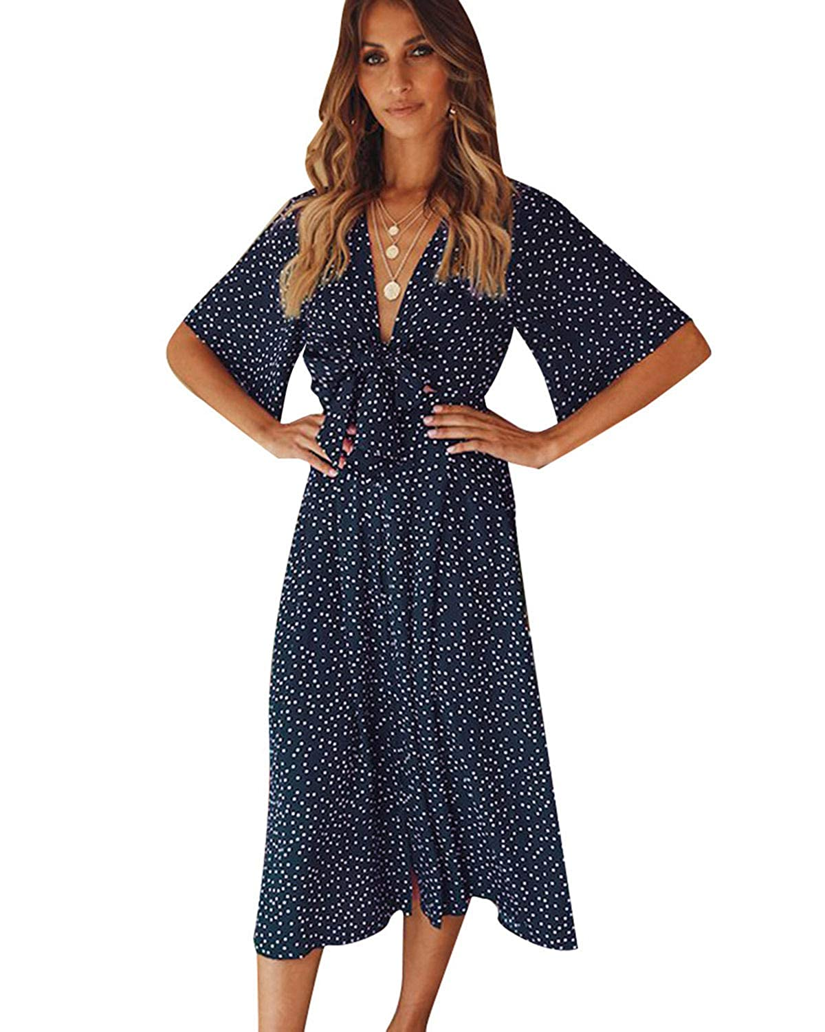2fe1b5e7d6a SOLERSUN Women s V Neck Polka Dot Loose Swing Casual Summer Tie Front Midi  Dress at Amazon Women s Clothing store
