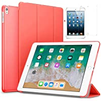 for Apple iPad Air 2/iPad 6 Ultra Slim Smart Case Folio with (Translucent Back) Stand Flip Cover case Free with Glossy Screen Guard for for Apple iPad Air 2/iPad 6 Model (Red)