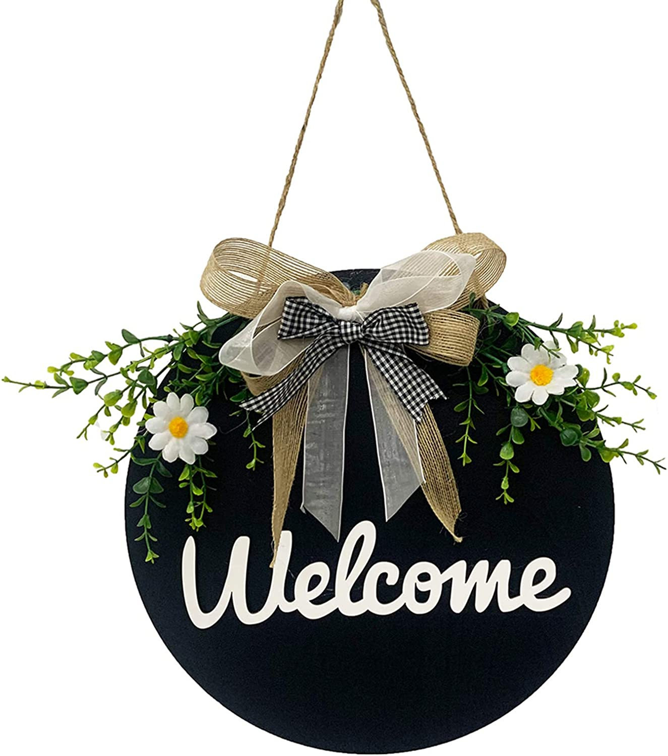 Welcome Sign Porch Decor, Round Wood Welcome Door Sign Hanging Welcome Wreath Sign Front Door Wall Decor for Daily Coffee Shop, Farmhouse, Restaurant, Home, Outdoor