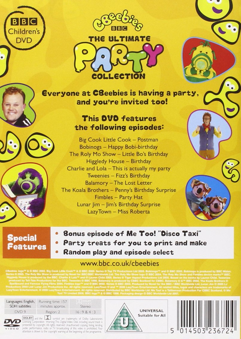Cbeebies The Ultimate Party Collection DVD Amazoncouk – Cbeebies Birthday Cards Times