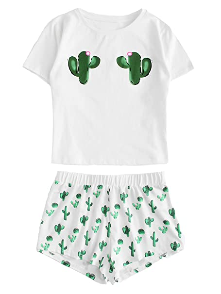 b4e66cadb325 DIDK Women s Round Neck Short Sleeve Print Top Shorts Pajama Set White XS