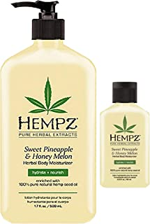 product image for Hempz Natural Herbal Body Moisturizer: Sweet Pineapple & Honey Melon Skin Lotion, 17 oz + 2.25 Travel Size Shrink Wrapped in Strong Box for Storage