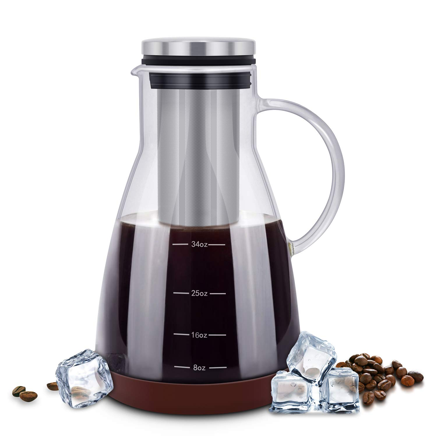 ESEOE Cold Brew Iced Coffee Maker,34oz Brewing Glass Carafe with Removable Stainless Steel Filter and Silicone Coaster,Best Tea and Coffee Maker for Homemade (BPA FREE)