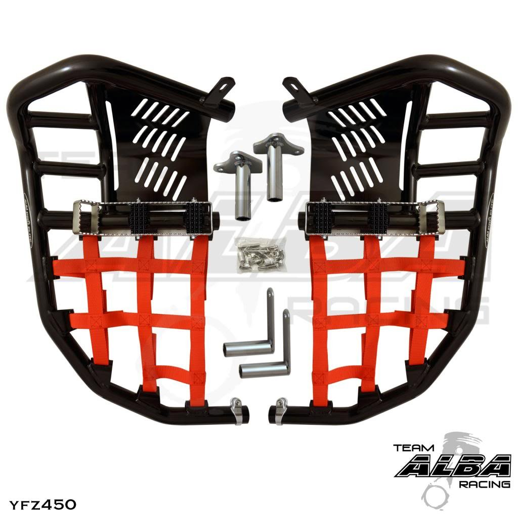 Yamaha YFZ 450 2004-2009 2012-2013 Standard Nerf Bars Black w//Red Net