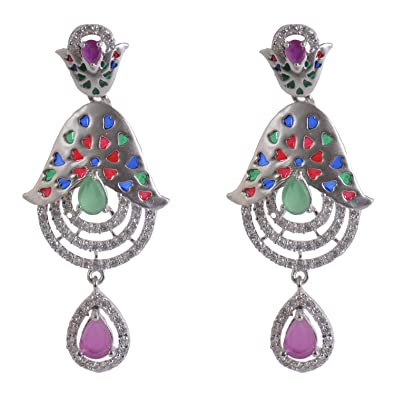 a24999161281a Silverwala 925-92.5 Sterling Silver Enamel Glass Used Mat finish Earring  for Women and Girls  Amazon.in  Jewellery