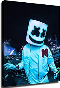 Marshmello DJ Bathroom Decor Wall Decor Home Decor Canvas Print Poster (12x16inch,Unframed)