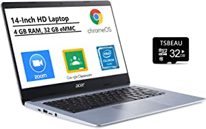 "Acer Chromebook 314 14"" HD Thin & Light Laptop, Intel Celeron N4000, 4GB LPDDR4 Memory, 32GB eMMC, Online Class, Bluetooth 5.0, Chrome OS, Silver, Bundled with TSBEAU 32GB Micro SD Card"