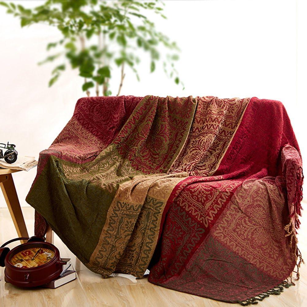 Manta para sofá de chenilla jacquard con borlas, estilo mediterráneo, para todas las estaciones, rojo y verde, 220*260CM