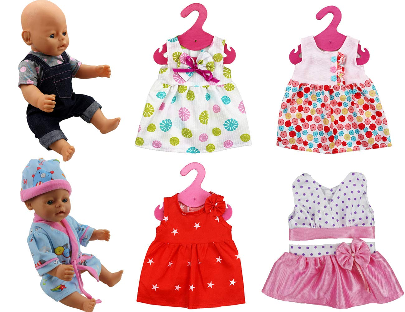 XADP 6 Sets Doll Clothes Outfits Dresses Clothing for 14 to 16 Inch New Born Baby Dolls, Bitty Baby Dolls and 18 Inch American Girl Doll