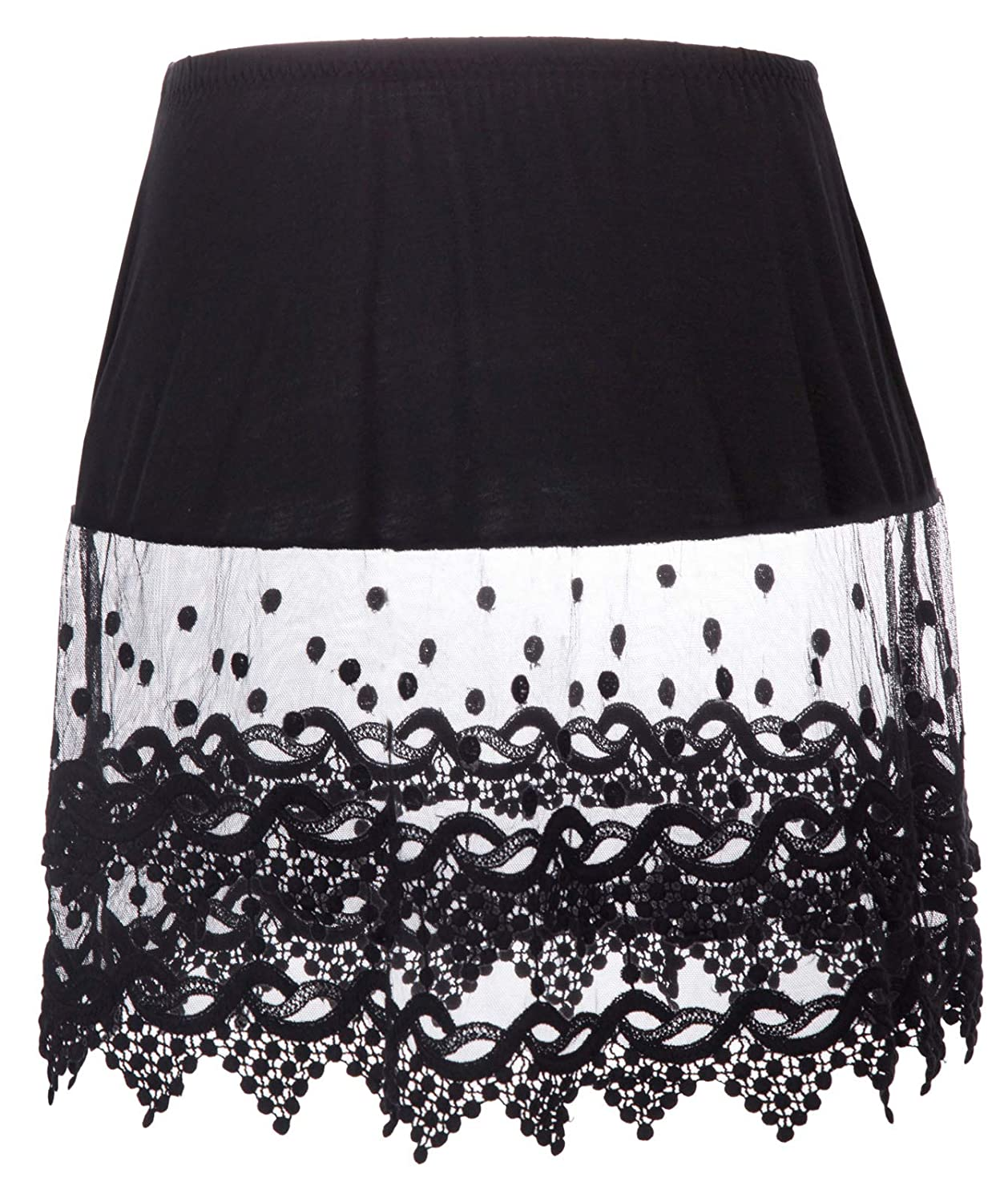Black 1030 GRACE KARIN Women's Lace Extender Half Slip Crochet Lace Skirts Accessories