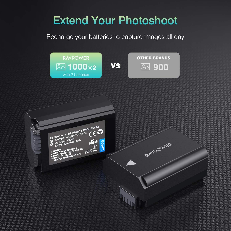 A7S A7R A7RII A5100 A7S2 A6300 A7SII NP-FW50 RAVPower Camera ...