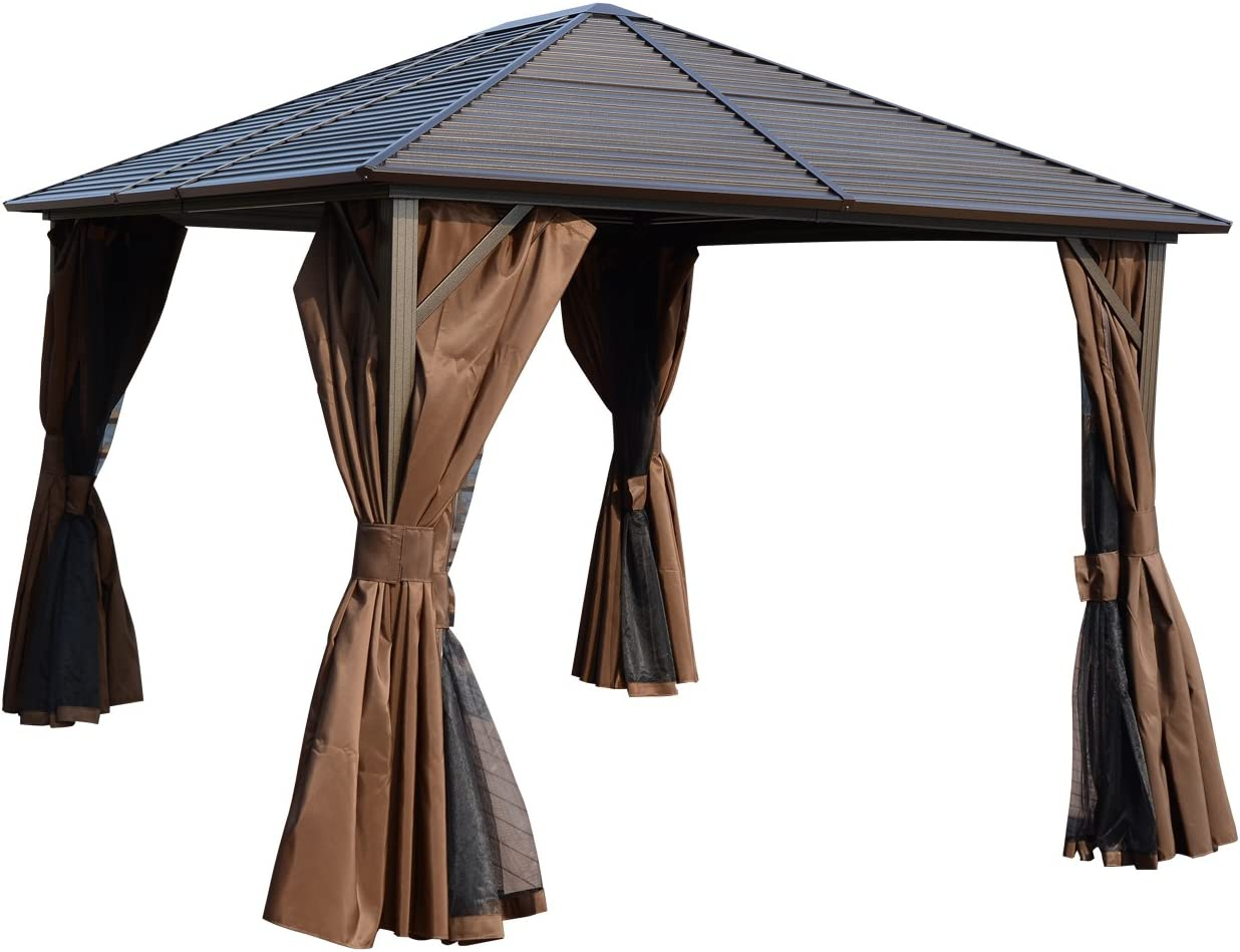 Outsunny 12 x 10 Steel Hardtop Outdoor Gazebo with Curtains – Brown Black