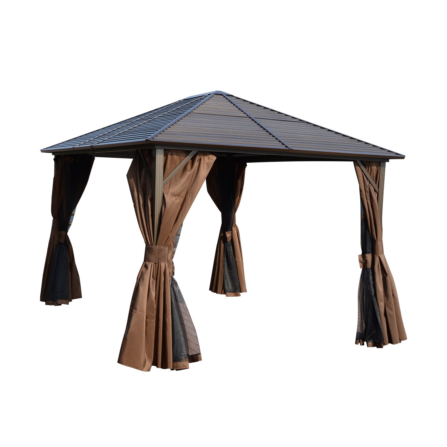 Outsunny 12x10ft Deluxe Steel Hardtop Patio Gazebo Garden Sun Shelter Aluminum Frame Heavy Duty Outdoor Pavilion with Curtains and Netting