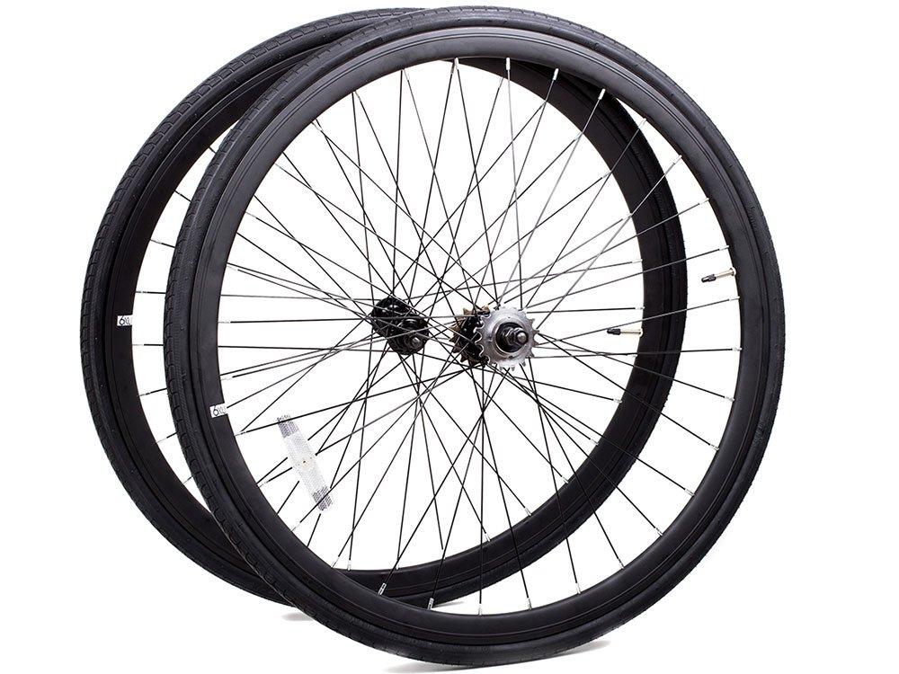 Laufrad Paar 700c Singlespeed Flip-Flop Felgenpaar Aluminium mit schwarzen Reifen