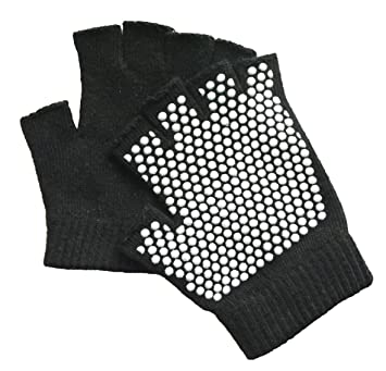 Sunland Yoga Pilates Gloves Non-Slip Grip with Silicone Fingerless One Pack for Traing and Workouts Black, Gray and Blue